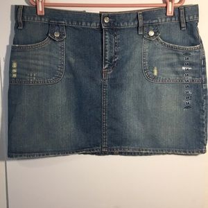 Old Navy Skirt Jean Blue 4 Pocket Ultra Low Size16